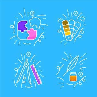 Pack de griffonnages de créativité dessinés à la main