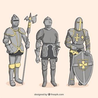 Pack de guerriers d'armure avec bouclier et autres éléments