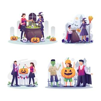 Pack de happy halloween (trick or treat) fête de famille et fête nocturne