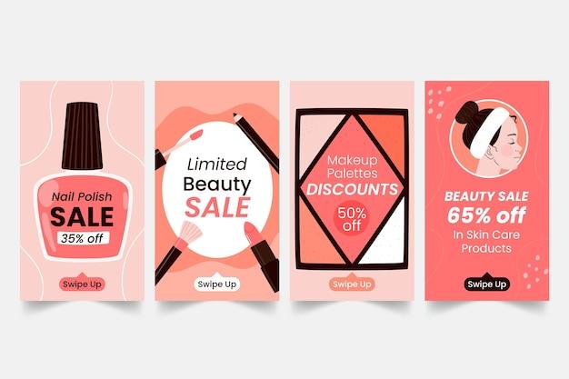 Pack d'histoire instagram beauté dessiné à la main