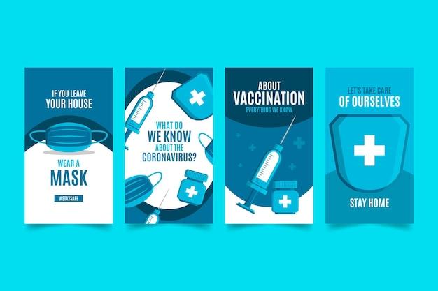Pack d'histoire instagram de coronavirus plat organique
