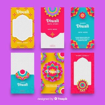 Pack d'histoires d'instagram du festival de diwali