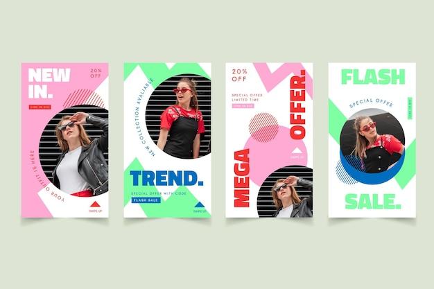 Pack d'histoires instagram avec promotion de vente de mode