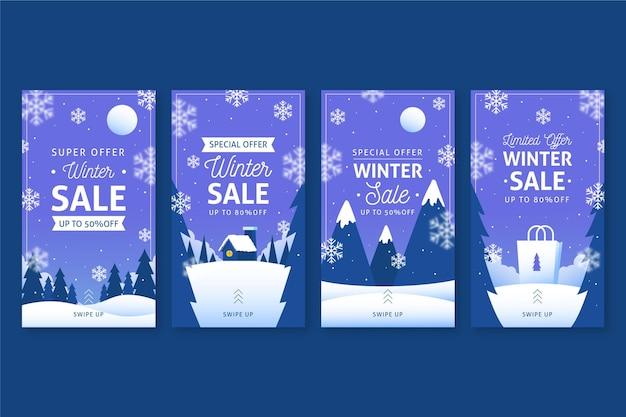 Pack d'histoires instagram de soldes d'hiver