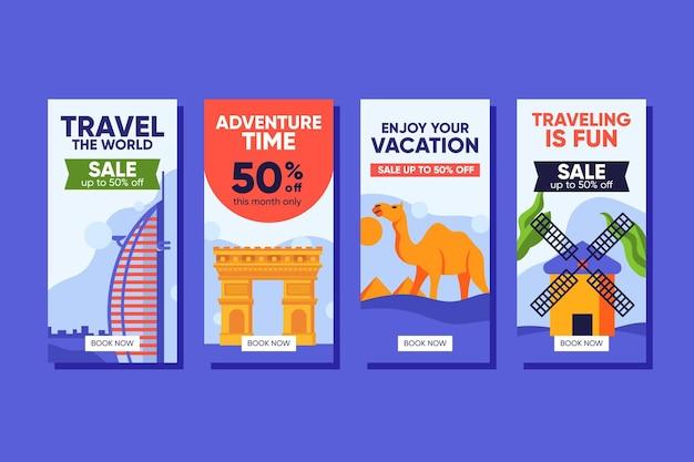 Pack d'histoires instagram de soldes de voyage