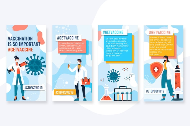 Pack d'histoires instagram de vaccin design plat