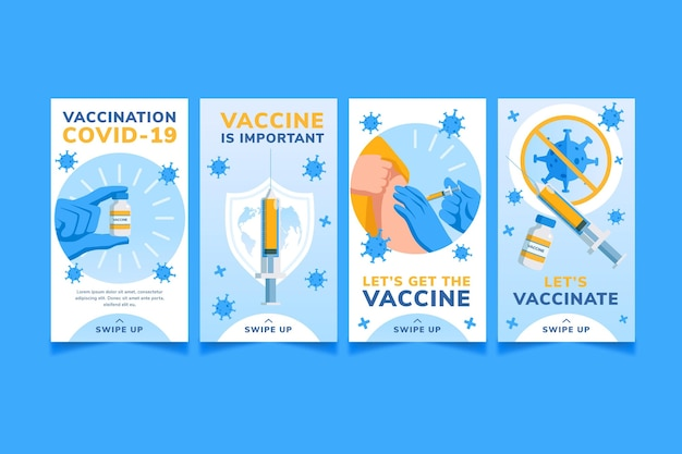 Pack d'histoires instagram de vaccin plat