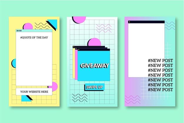 Pack D'histoires Instagram Vaporwave Linéaire Vecteur gratuit