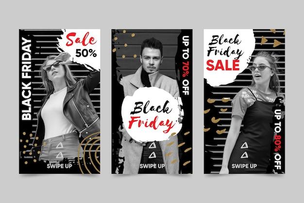 Pack d'histoires instagram de vendredi noir dessiné à la main