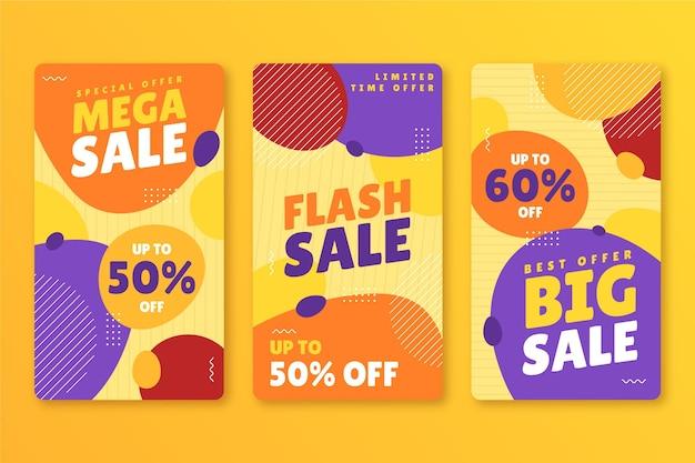 Pack d'histoires instagram de vente dessinés à la main