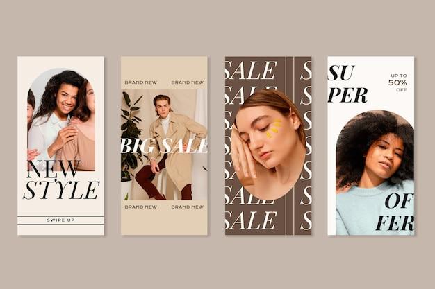Pack d'histoires instagram de vente à plat avec photo