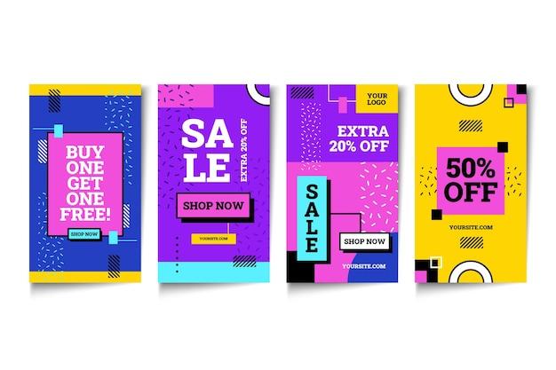 Pack d'histoires instagram de vente à plat
