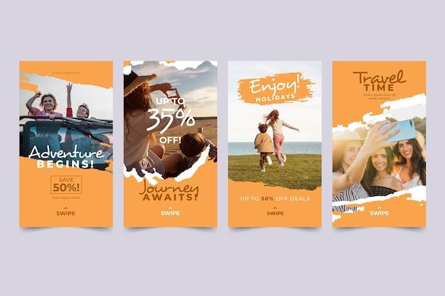 Pack d'histoires instagram de voyage avec coups de pinceau