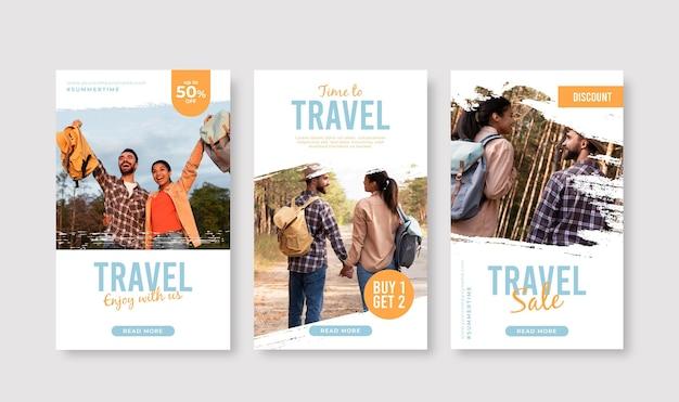 Pack d'histoires instagram de voyage avec des coups de pinceau