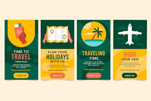 Pack d'histoires instagram de voyage plat