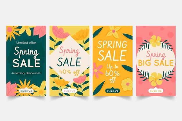 Pack d'histoires de médias sociaux dessinés à la main de printemps