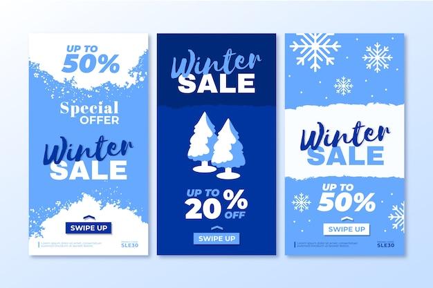 Pack d'histoires sur les réseaux sociaux des soldes d'hiver