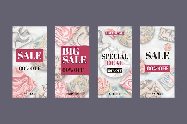 Pack d'histoires de vente instagram en marbre