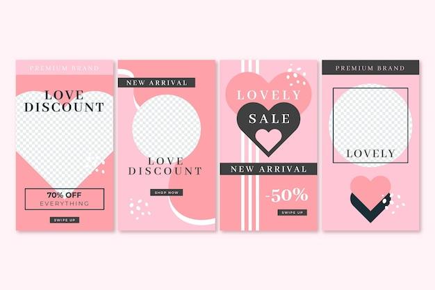 Pack d'histoires de vente moderne de la saint-valentin
