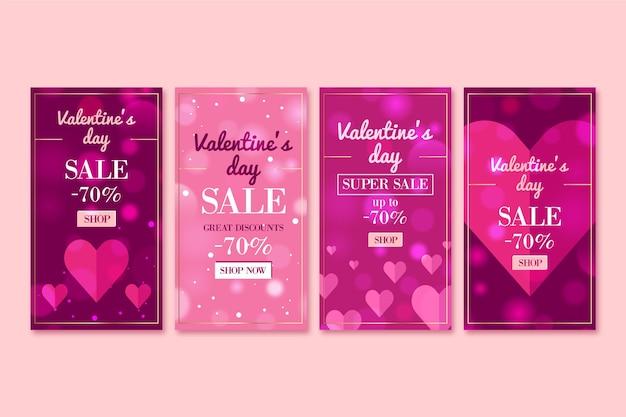 Pack d'histoires de vente de la saint-valentin avec offre