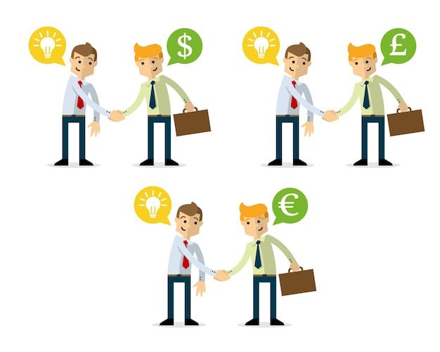 Pack d'homme d'affaires se serrent la main, vente idée