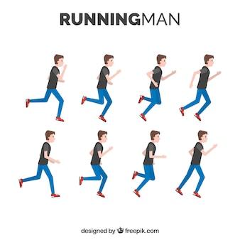 Pack d'homme en course avec différentes postures