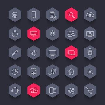 Pack d'icônes de 25 affaires, commerce, ligne hexagone