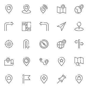 Pack d'icônes de carte et de navigation, avec style d'icône de contour