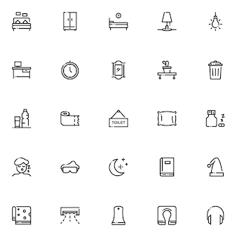 Pack d'icônes de chambre à coucher, avec style d'icône de contour
