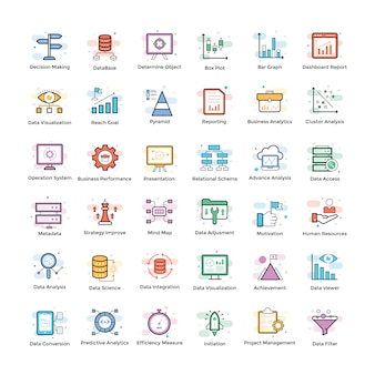 Pack d'icônes data analytics