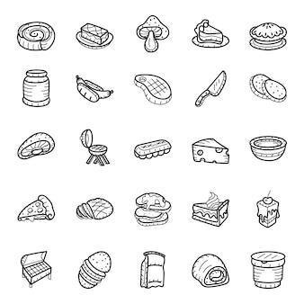 Pack d'icônes dessinés à la main de malbouffe et boissons