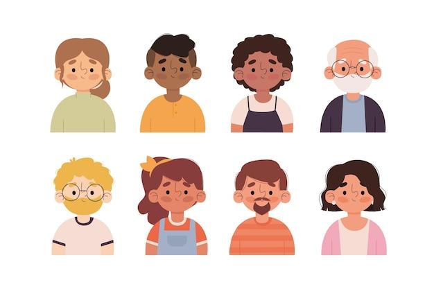 Pack d'icônes de différents profils dessinés à la main