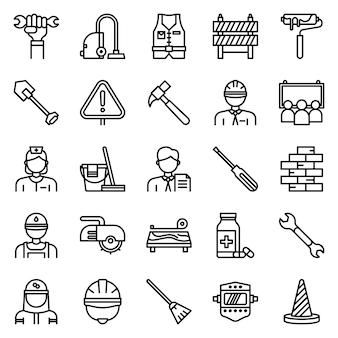 Pack d'icônes de la fête du travail, avec style d'icône de contour