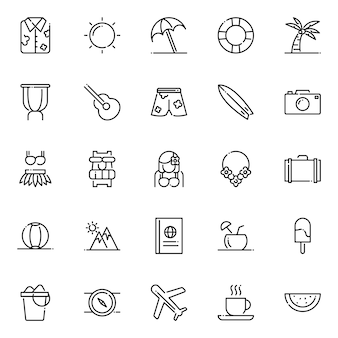 Pack d'icônes d'hawaï, avec style d'icône de contour