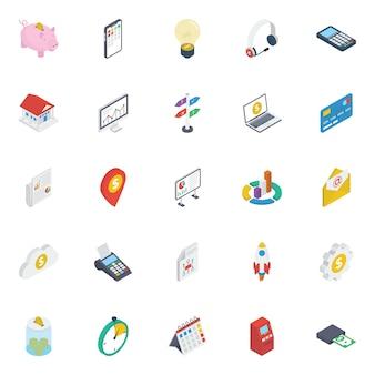 Pack d'icônes isométrique des finances