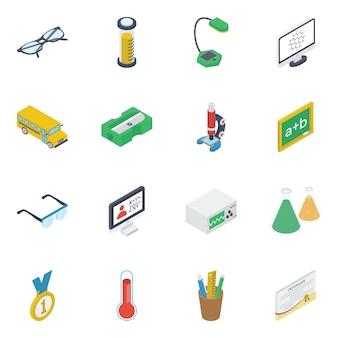 Pack d'icônes isométriques d'apprentissage e