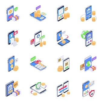 Pack d'icônes isométriques e banking