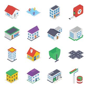 Pack d'icônes isométriques immobilières