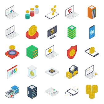 Pack d'icônes isométriques de monnaie numérique