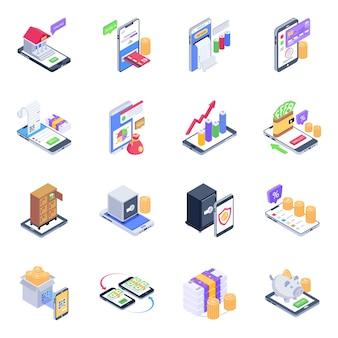 Pack d'icônes isométriques de services bancaires mobiles