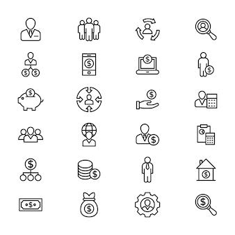 Pack d'icônes de ligne buinessmen
