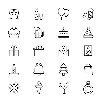 Pack d'icônes de ligne de célébration de fête