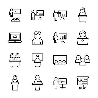 Pack d'icônes de ligne de formation en classe