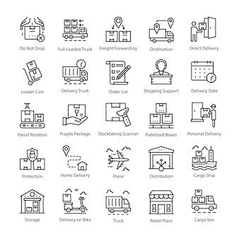 Pack d'icônes de ligne de livraison logistique