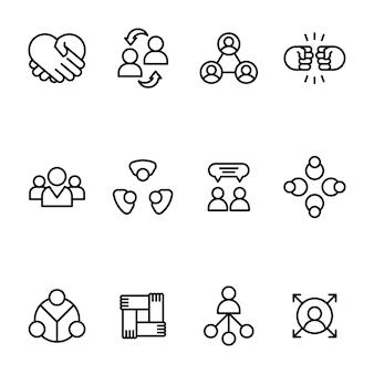 Pack d'icônes de ligne de travail d'équipe commerciale