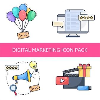 Pack d'icônes de marketing numérique