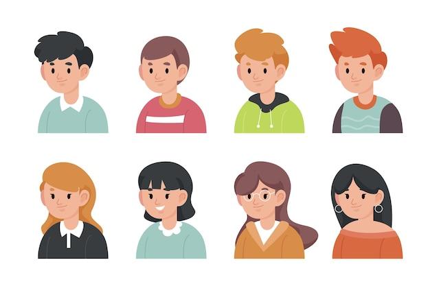 Pack d'icônes de personnes différentes dessinées à la main