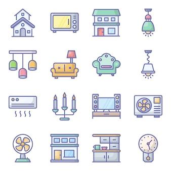 Pack d'icônes plat d'appareils ménagers