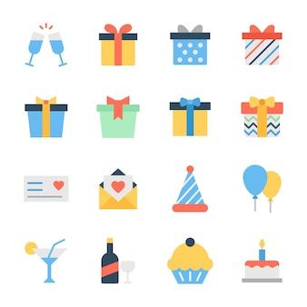 Pack d'icônes plat de célébration d'anniversaire