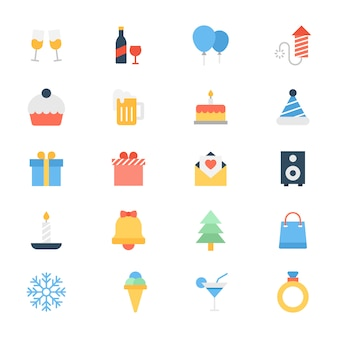 Pack d'icônes plat de célébration de fête